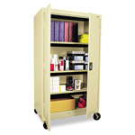 "Office Impressions Design Mobile All Purpose 66"" High Storage Cabinet with Cord Management Slots, Putty"