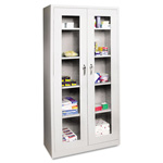 Office Impressions Design Locking Storage Cabinet, See Thru Doors, 36w x 18d x 72h, Gray