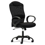 OIF Mesh High-Back Task Chair, Fixed Loop Arms, Black