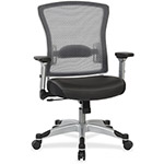 "Office Star Airgrid Chair w/Flip Arms, 21-1/4"" x 19-3/4"" x 22-1/2"", Black"
