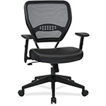 "Office Star Managers Chair, 20-1/2"" x 19-1/2"" x 18-1/2"", Leather/Black"