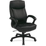 "Office Star Executive Chair, High-Back, 18-3/4"" x 19-3/4"" x 30"", Leather/BK"