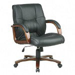Office Star Elegant Cherry Wood Finish Deluxe Series Leather Mid Back Swivel Chair