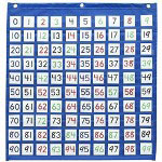 "Pacon hundreds pocket chart, with 2"" square pockets, 26"" x 28"", blue"