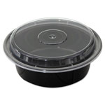 Pactiv Round Microwavable Container with Lid, 32 OZ, Black