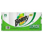 Bounty Perforated Paper Towels, 9 x 10.4, White, 52 Sheets/Roll, 15/Pack