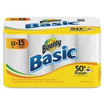 Bounty Basic Paper Towels, 1-Ply, 60 Sheets/RL, 12/PK, WE