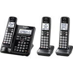 Panasonic 3 Handset Cordless Telephone, Voicemail, 1.9GHz Frequency, Black