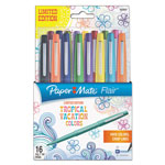 Papermate® Flair Felt Tip Marker Pen, Assorted Tropical Ink, Medium, 16/Pack