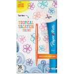 Papermate® Flair Felt Tip Marker Pen, Assorted Tropical Ink, Medium, 36/Pack