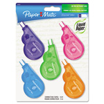 "Papermate® Mini Correction Tape, White, 1/5""x197"", Assorted Color Dispensers, 5/Pack"