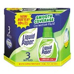 Papermate® Liquid Paper Smooth Coverage Correction Fluid, 22ml Bottle, White, 3 per Pack