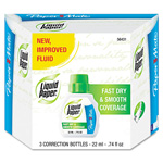 Papermate® Liquid Paper Fast Dry Correction Fluid, 22ml Bottle, White, 3 per Pack