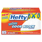 Hefty White Drawstring Trash Bags, 13 Gallon, 0.9 Mil, Box of 85