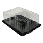 Pactiv 1/4-Sheet 2-Part Cake Containers, Black/clear, 14 1/2w X 10 3/4d X 5h, 65/carton