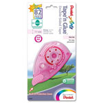 "Pentel Tape'n Glue Tape, Double-sided, Permanent, 8.4mmx984"" Pink Tint"