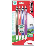 Pentel Gel Ret Roller Ball Pen, Black Barrel, Med Pt, 0.70 mm, Assorted, Ref
