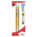 Pentel Sharp Automatic Pencil, 0.90 mm, Yellow Barrel, 2/Pack