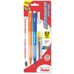Pentel Mechanical Pencil, Refillable Lead/Eraser, .9mm, 2/PK, Assorted