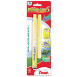 Pentel Highlighter, Retract., Refillable, Chisel Tip, 1/CD, Yellow