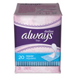 Always® Dailies Thin Liners, Regular, 20/Pack, 24 Pack/Carton