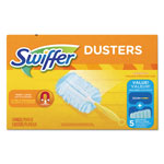 "Swiffer Dusters Starter Kit, Dust Lock Fiber, 6"" Handle, Blue/Yellow, 6/Carton"