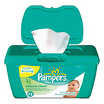 Pampers® Natural Clean Baby Wipes, Unscented, White, Cotton, 72/Tub