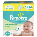 Pampers® Natural Clean Baby Wipes, Unscented, White, Cotton, 504/Carton