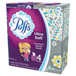 Puffs Ultra Soft and Strong Facial Tissue, 2-Ply, White, 56 Sheets/Box, 4/Pack