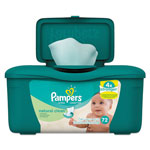 Pampers® Natural Clean Baby Wipes, Unscented, White, Cotton, 72/Tub, 8 Tub/Carton