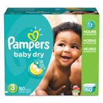 Pampers® Baby Dry Diapers, Size 3: 16 to 28 lbs, 160/Carton