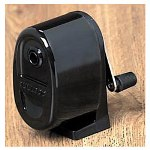 Hunt Manual Table or Wall Mount Pencil Sharpener, Smoke Black Receptacle, Black Base