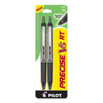 Pilot Rollerball Pen, Retract., Extra Fine Pt., 2/PK, Black Barrel/Ink