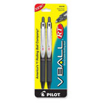 Pilot Rollerball Pen, Retractable, Extra-Fine, 2/PK, Black Barrel/Ink