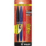 Pilot Rollerball Gel Pen, Erasable, Fine, 3/PK, Assorted Barrel/Ink