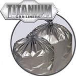 Penny Lane Titanium Low-Density Can Liners, 20-30 gal, 1.5 mil, 30 x 37, Silver