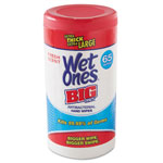 "Playtex® Wet Ones Big Ones Antibacterial Wipes, 4 1/2"" x 8"", White, 65 Wipes, 6 Boxes/CT"