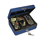 PM Company Personal-Size Cash Box, Sleek Design, 4-Compartment Tray, 2 Keys, Blue/Silver