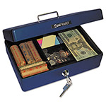 PM Company Compact-size Cash Box, Sleek Design, 4-Compartment Tray, 2 Keys, Blue/Silver