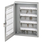 PM Company Locking Key Cabinet, 100 Numbered Hooks & Key Tags, 16 1/2w x 3d x 22h, Gray