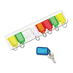 "PM Company Color Coded Eight Key Tag Rack, Plastic, 10 1/2"" Wide, White"