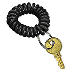 PM Company 04995 Plastic Wrist Key Coil Wearable Key Organizer with Steel Ring, Black