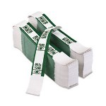 PM Company Self-Adhesive White/Green Currency Bands, $200 Value