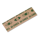 PM Company Flat Paper Coin Wrappers for 50 Dimes, Green, 1000 Wrappers per Pack