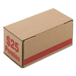 PM Company Corrugated Coin Storage/Shipping Boxes for 2500 Pennies/Box, Red, 50 Boxes/Ctn