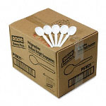 Dixie Medium-Weight White Plastic Soup Spoons, Case of 1,000