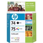 HP 74 Black and Cyan/Magenta/Yellow Ink Cartridge, Model CC659FN140, Page Yield