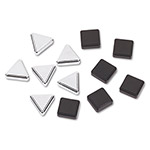 Quartet® Silver Triangle & Metallic Black Square Magnets, 6 Each Color, 12 Magnets/Pack