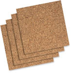 "Quartet Cork Wall Tiles, With Foam Tape, 12""x12"", 4/PK, Natural"