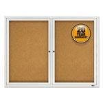 Quartet Enclosed Outdoor Bulletin Board, 2-Door, 4' x 3', Aluminum Frame